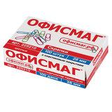 Скрепки ОФИСМАГ, 28 мм, цветные, 100 шт., в картонной коробке, Россия, 225210