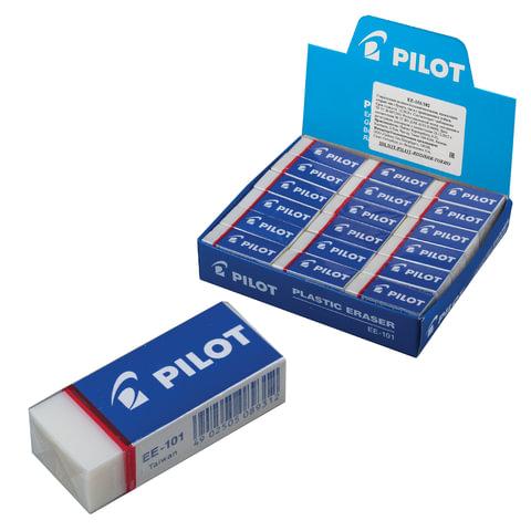 Ластик PILOT, 45х20х12 мм, прямоугольный, белый, картонный держатель, EE-101