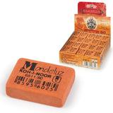 """Резинка стирательная KOH-I-NOOR """"Mondeluz"""", прямоугольная, 26x18,5x8 мм, оранжевая, картонный дисплей, 6811080002KDRU"""