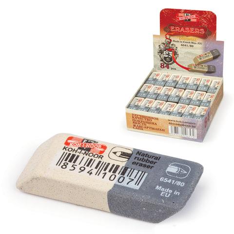 Ластик KOH-I-NOOR 6541/80, 41x14x8 мм, бело-серый, прямоугольный, скошенные края, натуральный каучук, 6541080004KDRU