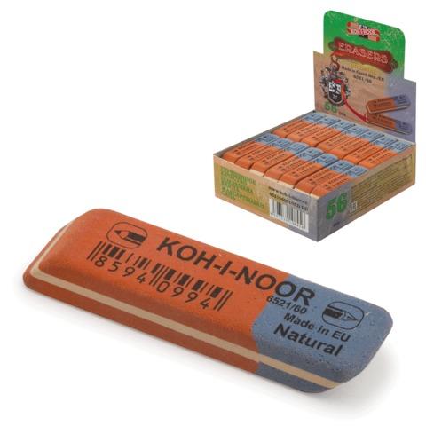 Ластик KOH-I-NOOR 6521/60, 57x14x8 мм, красно-синий, прямоугольный, скошенные края, натуральный каучук, 6521060010KDRU