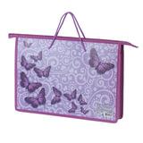 """Папка на молнии с ручками BRAUBERG, А4, пластик, для девочек, """"Бабочки"""", 225505"""