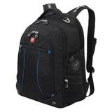 Рюкзак WENGER (Швейцария), универсальный, черный, синие вставки, 32 литра, 36х19х47 см, 3118203408