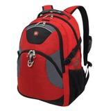Рюкзак WENGER (Швейцария), универсальный, красно-черный, серые вставки, 26 л, 34х17х47 см, 3259112410