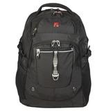 Рюкзак WENGER (Швейцария), универсальный, черный, серебристые вставки, 34 л, 34х22х46 см, 6968204408