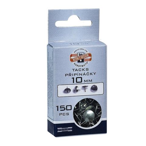 Кнопки канцелярские KOH-I-NOOR, металлические, серебряные, 10 мм, 150 шт., в картонной коробке с подвесом, 9600100303KS
