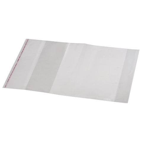 Обложка ПП для учебника и тетради А4, универсальная, прозрачная, клейкий край, 80 мкм, 300х500 мм, 16.43