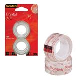 """Клейкие ленты 19 мм х 7,5 м канцелярские SCOTCH """"Crystal"""", комплект 2 шт., прозрачные, 50 мкм, 6-1975R2"""