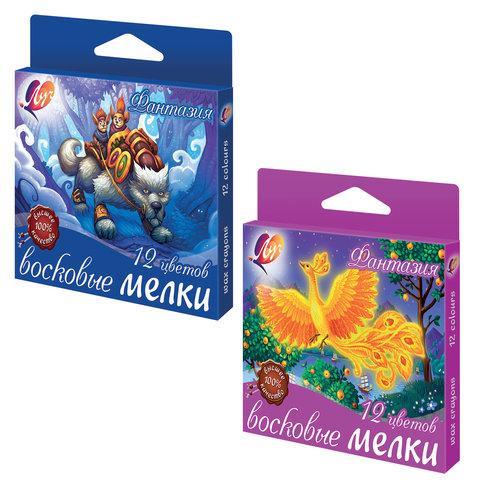 """Восковые мелки ЛУЧ """"Фантазия"""", 12 цветов, на масляной основе, картонная упаковка с европодвесом, 25С1520-08"""