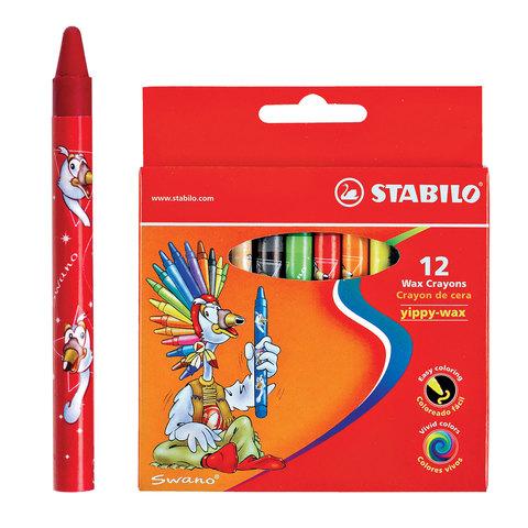 """Восковые мелки STABILO """"Yippy"""", 12 цветов, яркие цвета, картонная упаковка c европодвесом, 2812"""