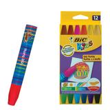 """Восковые мелки утолщенные BIC """"Kids"""", 12 цветов, на масляной основе, шестигранные, картонная упаковка, 926446"""