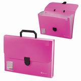 """Портфель пластиковый BRAUBERG """"Проект А4"""", 330х240х35 мм, 13 отделений, фактура стандарт, розовый, Россия, 226028"""