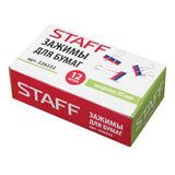 """Зажимы для бумаг STAFF, КОМПЛЕКТ 12 шт., 25 мм, на 100 листов, """"Триколор"""", картонная коробка, 226252"""