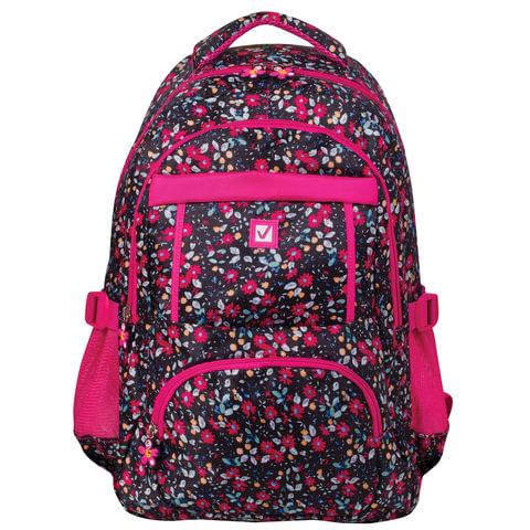 """Рюкзак BRAUBERG для старшеклассников/студентов/молодежи, узоры, """"Цветы"""", 26 литров, 45х31х12 см, 226357"""