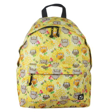 """Рюкзак BRAUBERG универсальный, сити-формат, желтый, """"Совушки в цветах"""", 20 литров, 41х32х14 см, 226405"""