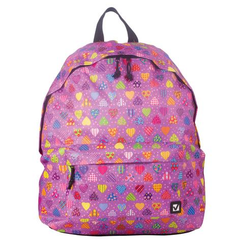 """Рюкзак BRAUBERG универсальный, сити-формат, фиолетовый, """"Сердечки"""", 23 литра, 43х34х15 см, 226409"""