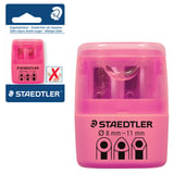 Точилка STAEDTLER (Германия), 2 отверстия, контейнер и крышечка, пластиковая, розовая, 51260F20BK