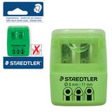 Точилка STAEDTLER (Германия), 2 отверстия, контейнер и крышечка, пластиковая, зеленая, 51260F50BK