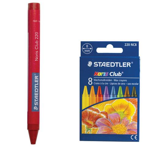 """Восковые мелки STAEDTLER (Германия) """"Noris Club"""", 8 цветов, картонная упаковка, европодвес, 220 NC8"""