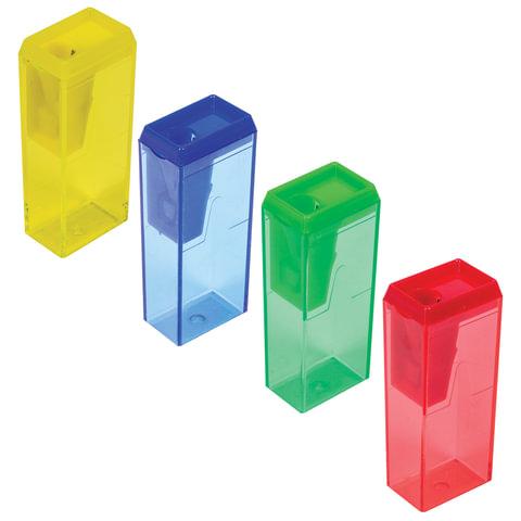 Точилка ПИФАГОР, с контейнером, прямоугольная, пластиковая, тонированный корпус, ассорти, 226530