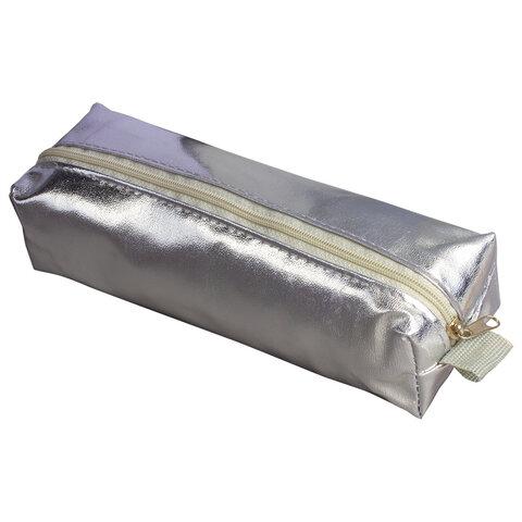 "Пенал-косметичка BRAUBERG под искусственную кожу, ""Винтаж"", серебряный, 20х6х4 см, 226714"