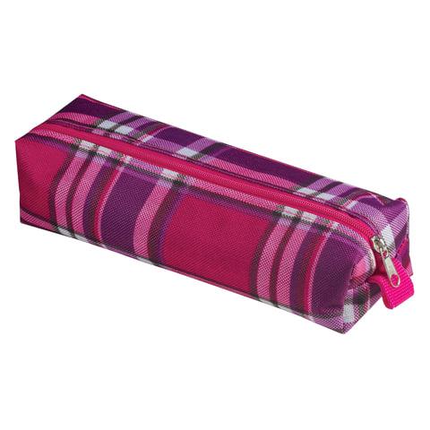 """Пенал-косметичка BRAUBERG, полиэстер, """"Шотландия"""", фиолетовый с розовым, 20х6х4 см, 226723"""