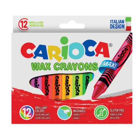 """Восковые мелки утолщенные CARIOCA (Италия) """"Maxi"""", 12 цветов, смываемые, картонная упаковка, подвес, 42369"""