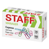 """Скрепки STAFF """"Manager"""", 28 мм, цветные, 100 шт., в картонной коробке, 226821"""