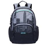 Рюкзак GRIZZLY универсальный, черный/серый, Мегаполис, 30х42х22 см, RU-713-2/2