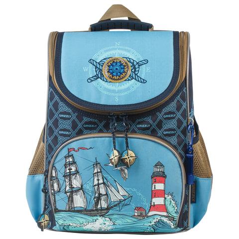 """Ранец каркасный GRIZZLY для учеников начальной школы (7 л, 33х25х13 см) + сумка для обуви, """"Приключения"""", RA-872-8/1"""
