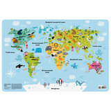 """Настольное покрытие для письма и творчества ПИФАГОР, размер А3, пластик, """"Карта мира"""", 227248"""
