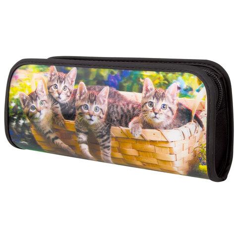 "Пенал-косметичка BRAUBERG, с эффектом 3D, пластик, ""Котята"", 22х10х5 см, 227300"
