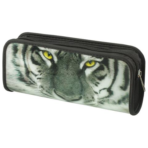 "Пенал-косметичка BRAUBERG, с эффектом 3D, пластик, ""Тигр"", 22х10х5 см, 227309"