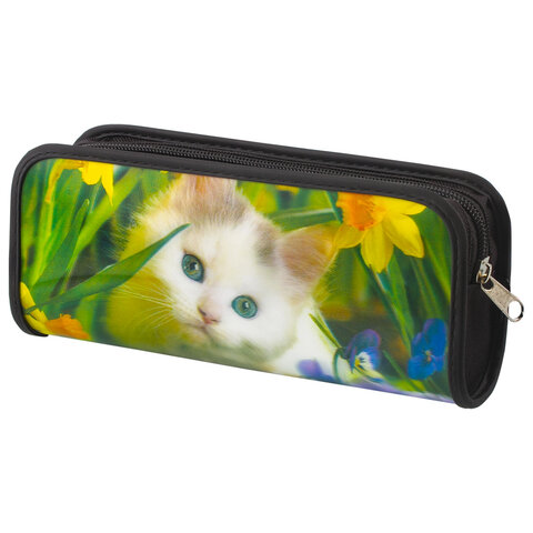 "Пенал-косметичка BRAUBERG, с эффектом 3D, пластик, ""Белый котенок"", 22х10х5 см, 227310"