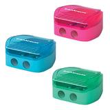"""Точилка ERICH KRAUSE """"Duo"""", 2 отверстия, с пластиковым контейнером, цвет ассорти, 33616"""