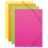 """Папка-короб на резинках ERICH KRAUSE """"Neon"""", А4, 30 мм, до 300 листов, 600 мкм, неоновая, ассорти, 42999"""