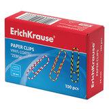 """Скрепки ERICH KRAUSE, 28 мм, с цветными полосками """"Zebra"""", 100 шт., в картонной коробке, 24873"""