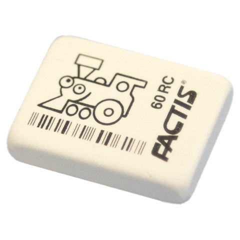 Ластик FACTIS 60 RC (Испания), 32х24х7 мм, белый, ассорти, прямоугольный, мягкий, CNF60RC