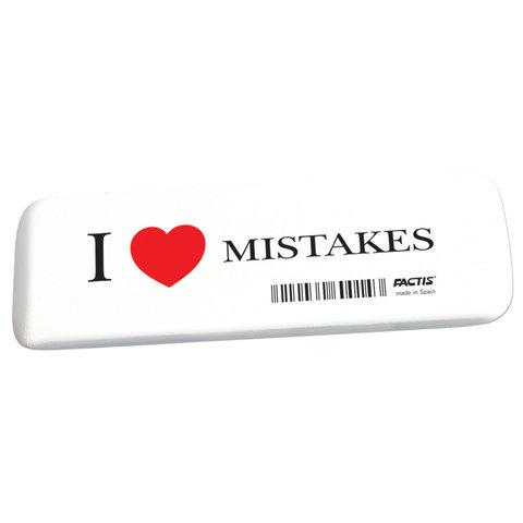 "Ластик большой FACTIS ""I love mistakes"" (Испания), 140х44х9 мм, прямоугольный, скошенные края, GCFGE16C"