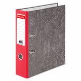 Папка-регистратор BRAUBERG, усиленный корешок, мраморное покрытие, 80 мм, с уголком, красная, 228029