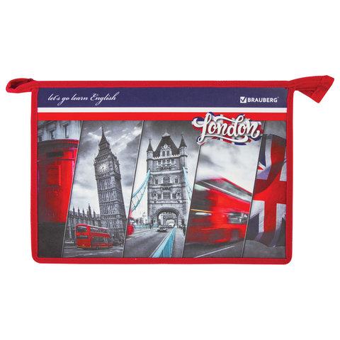 Папка для тетрадей BRAUBERG, А4, 1 отделение, пластик, молния сверху, Лондон, 228136