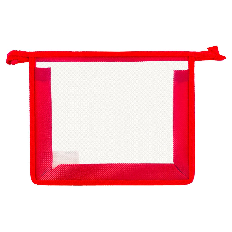 Анонс-изображение товара папка для тетрадей а5 пифагор, пластик, молния сверху, прозрачная, красная, 228220