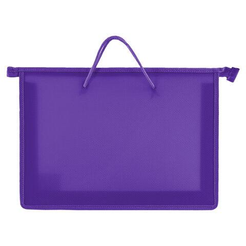 Папка на молнии с ручками ПИФАГОР, А4, пластик, молния сверху, однотонная фиолетовая, 228237