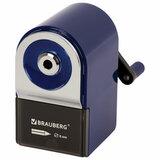"""Точилка механическая BRAUBERG """"ORIGINAL"""", для чернографитных и цветных карандашей, крепление к столу, корпус синий, 228480"""