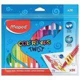 """Восковые мелки MAPED (Франция) """"Color'peps Twist"""", 24 цвета, выкручивающиеся в пластиковом корпусе, 860624"""