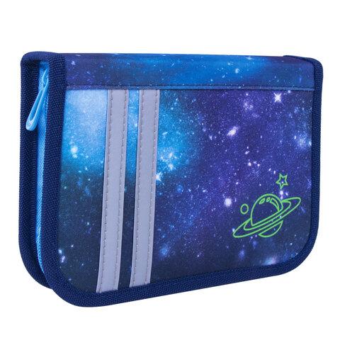 """Пенал TIGER FAMILY 1 отделение, 1 откидная планка, ткань, """"Super Galaxy"""", 20х14х4 см, 228899, TGNQ-057C1E"""