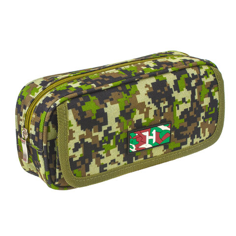 """Пенал BRAUBERG для мальчиков, 1 отделение, органайзер, мягкий, """"Military"""", зеленый, 21х5х9 см, 228990"""