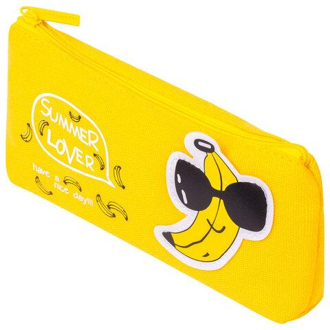 "Пенал-косметичка BRAUBERG, канвас с аппликацией, ""Cool Banana"", 19х4х8 см, 228999"