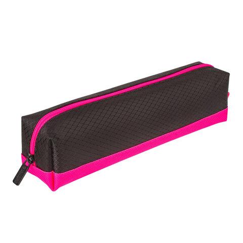 """Пенал-косметичка BRAUBERG, мягкий, """"Black&Bright"""", черно-розовый, 21х5х5 см, 229006"""