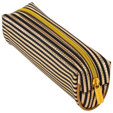 "Пенал-косметичка BRAUBERG, мягкий, ""Royal"", золотой, 19х6х6 см, 229021"